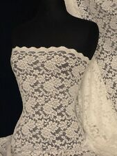 Lace Rose Design Scalloped 4 Way Stretch Lace Fabric- Cream Q723 CRM