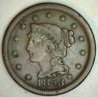 1853 Braided Hair Large Cent Copper Type Coin One Cent US Penny VF #R4
