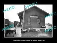 OLD LARGE HISTORIC PHOTO OF SPRINGWATER NEW YORK VIEW OF RAILROAD DEPOT c1910