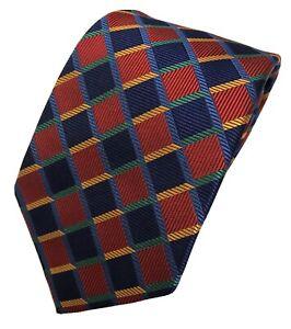 $250 TURNBULL & ASSER 100% Silk Red Navy Green Gold Check Luxury Silk Tie