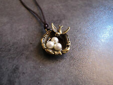 New Lovely Antiqued Bronze Bird Nest Eggs Pendant Charm Necklace in Brown Cord