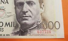 @CAPICUA@ 5000 PESETAS 1979 JUAN CARLOS I Sin Serie Pick 160 SIN CIRCULAR España