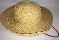 Helen Kaminski Sydney Australia 100% Raffia Straw Sun Hat Curled Brim