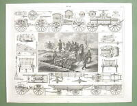 MILITARY Carriages Forges Prussian Artillery - 1844 Original Steel Engraving