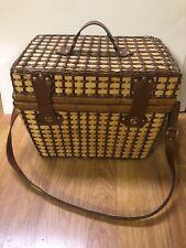 Beautiful Vintage Large Wicker Picnic Basket W/ Leather Shoulder Strap & Handle