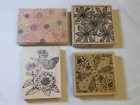 Lot of Misc Wood Mount Stamp Set includes 4 rubber stamps Flowers pre-owned