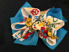 New Huge 6� Custom Boutique Stacked Hairbow Art School Painting Party 1 2 3 Blue