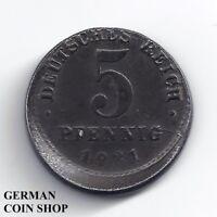 FEHLPRÄGUNG - Nicht zentriert - 5 Pfennig Eisen 1921 D - SELTEN