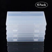 4Pcs Polypropylene Plastic Bead Storage Containers Rectangle Box Case Clear