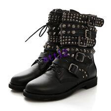 Womens Punk Gothic Buckle Strap Lace Up Rivet Studded Combat Ankle Boot Plus SZ