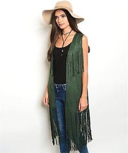 Haute BOHO Western Vintage Hippy Faux Suede Leather Fringe Long Vest Cardigan GN