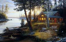 "Terry Doughty ""Last Ember"" Lake Cabin print Image 25"" x 16.5"""
