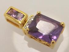 Gold Over 925 Sterling Silver Purple Cz Cubic Zirconia Drop Pendant ~Sp7~