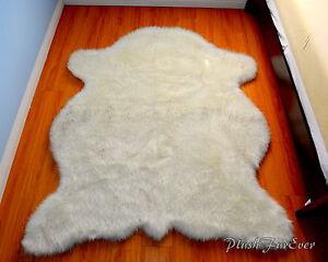 polar bear black tip fur throw area rug 5 x 7 custom USA nursery rugs