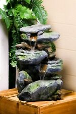 Unique Indoor Outdoor Rock Waterfall Fountain Garden Yard With Pump & Led Light