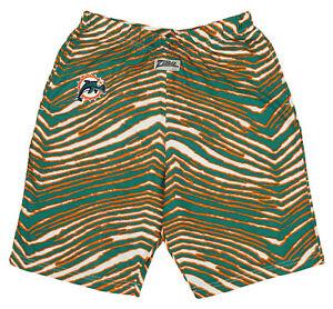 Zubaz NFL Men's Miami Dolphins Casual Zebra Print Shorts