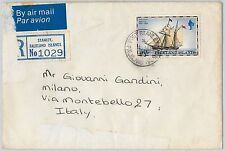 FALKLAND -  POSTAL HISTORY - REGISTERED AIRMAIL COVER from STANLEY to ITALY 1983