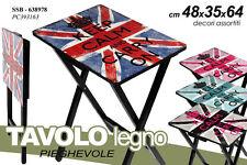 TAVOLO TAVOLINO RETTANGOLARE PIEGHEVOLE LEGNO DECORATO KEEP CALM UK SSB-638978