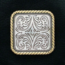 "WESTERN SADDLE ANTIQUE SILVER GOLD ROPE EDGE SQUARE CONCHO 1"" screw back"