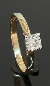 9 Carat Yellow Gold Diamond Solitaire Ring 0.42ct Size Q (80.21.160)