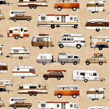 Parks and Recreation Campers, Trailers on Beige By Studio E Fabric 100% Cotton