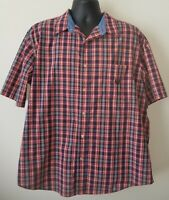 Chaps Easy Care Button Down Short Sleeve Shirt Red Blue Plaid mens XXL