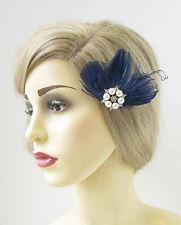 Bleu Marine Plume De Paon Fascinator Barrette Vintage Argenté Perle 1920s 191