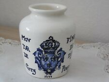 "Vintage FRENCH Ceramic MUSTARD POT ""GREY POUPON"" - DIGOIN SARREGUEMINES (1940's)"