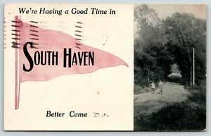 """""""Having a Good Time"""" in South Haven Michigan~Boys on Gravel Road~1912 Pennant"""