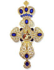 Jeweled Wall Icon Cross Pendant With Crown Saint Mary Christ I am With You Gift