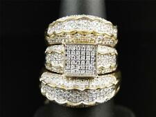 14K Yellow Gold Over 4CT D/VVS1 Diamond Wedding His & Her 3 Pieces Trio Ring Set