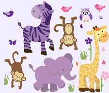 Girls Animal Decal, Baby Girls Jungle Wall Decal, Safari Wall Art, Wall Clings
