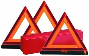 Safety Triangles ~ (3) Reflective Triangles W Storage Box ~ Deflecto SS798-S
