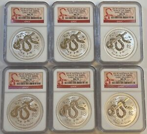 Lot of (6) 2013-P Australia S$1 Year of The Snake 1 oz Silver Coins NGC MS70 ER
