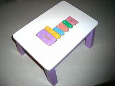PERSONALIZED WOODEN NAME  PUZZLE STEP STOOL -MEDIUM PURPLE