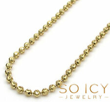 "20"" 2mm 14k Yellow Gold Moon Cut Italy Ball Bead Mens ladies Chain Necklace"