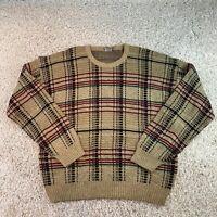 Vintage WINDRIDGE Beige Check Knit Jumper Pullover Acrylic Mens XL