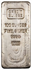 Vintage Credit Suisse 100 oz Silver Bar Numbered With COA SKU55679