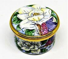 Staffordshire English Enamel Box - Magnolia Flowers & Hummingbirds - Charleston