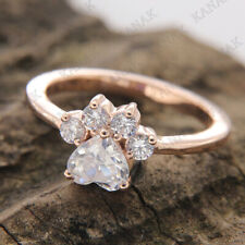 1.45 Ct Diamond Heart Shape Paw Print Engagement Ring Solid 10k Rose Real Gold