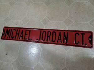 "Vintage Michael Air Jordan Court Metal Street Sign Mancave Full Size Red 35.5"""