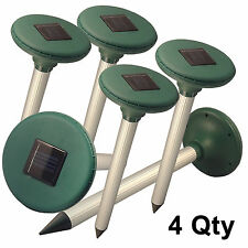 Qty 4 Garden Farm Solar Ultrasonic Multi Pulse Gopher Mole insect Pest Repeller