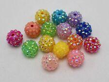 20 Mixed Colour Acrylic Rhinestone DISCO Ball Beads 14mm for Shamballa Bracelet