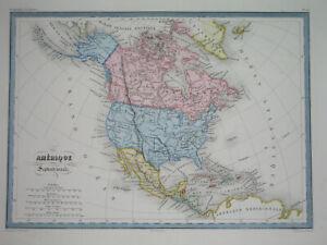 1858 ORIGINAL MAP TEXAS UNITED STATES CALIFORNIA FLORIDA CUBA MEXICO CANADA