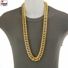 """Men's Hip Hop 14K Gold Plated Hollow Chunk Alloy Cuban Chain 36"""" Necklace ALM007"""