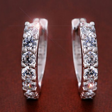 Earrings Silver Huggie Hoops Diamonds 13 mm Mother Wedding Summer