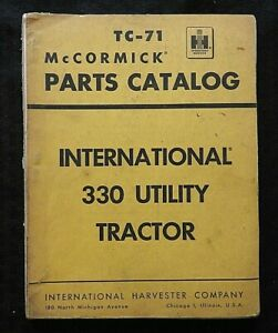 1958 INTERNATIONAL HARVESTER McCormick 330 UTILITY TRACTOR PARTS CATALOG MANUAL