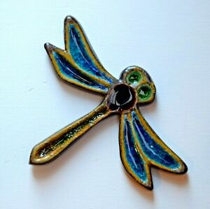 Hand Made Dragonfly Ceramic Glass Wall Plaque Tile Indoor Outdoor Frost Proof