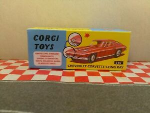 Corgi Toys 310 Chevrolet Corvette Sting Ray Empty Repro Box NO CAR