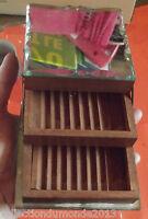 Ancien étuis à cigarette de table en bois & verre 1970 rare pour dame
